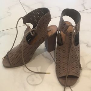 Taupe Suede Block Heeled Shoe